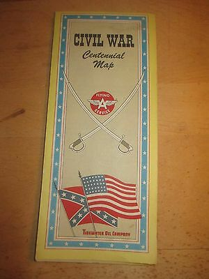 "Vintage 1960's Civil War Centennial Map - Flying ""A"" - Tidewater Oil Co."