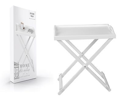 White Wooden Butlers Tray Folding Tray Table Collapsible Breakfast Serving Tray