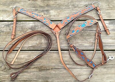 Studded/tooled w/blue Western cob/arab size tack set breast collar & headstall
