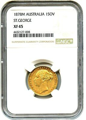Great Britain: 1878 Gold Sovereign NGC XF45 (KM-752) - .2355oz Gold