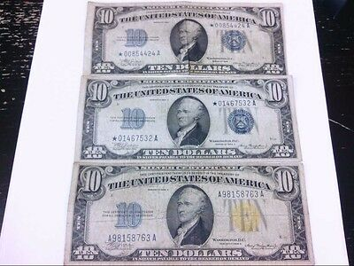 $1934 $10 DOLLAR BILLS- 2- Star Blue Seal. 1- Emergency Yellow N. Africa Note.