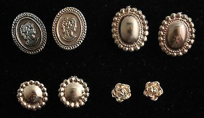 4 Pair Vintage Victorian Style Nouveau Gold Tone Beaded Cameo Roses Earrings FP