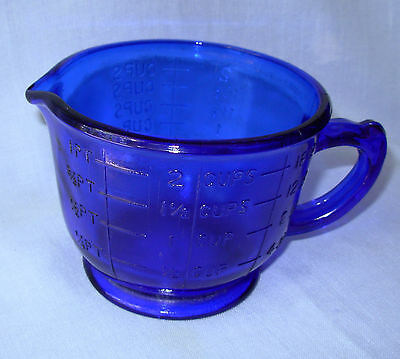 Cobalt Blue Glass 2 cup measuring mixing cup 1 pint vintage style reproduction
