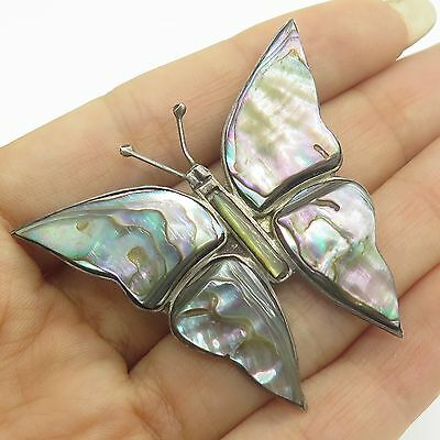 Vtg Mexico 925 Sterling Silver Abalone Shell Large Butterfly Handmade Pin Brooch