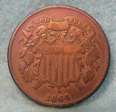 1864 Civil War Era Two Cent Piece Solid VG * Circulated US Coin #749
