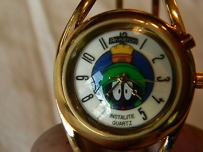 Previously Worn Armitron Marvin The Martian Gold Bangle Back Lit Watch