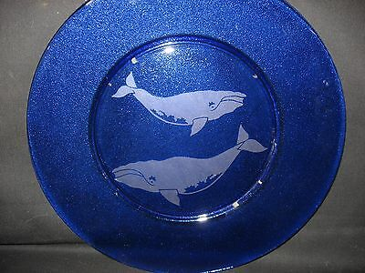 New Etched Right Whale Cobalt Blue Glass Serving Plate Platter