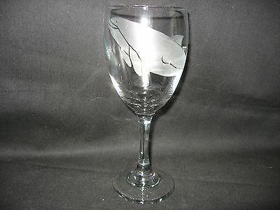 New Etched Porpoise Wine Glass