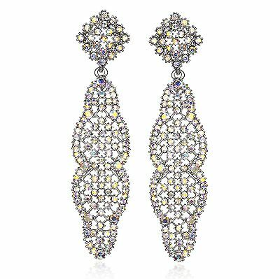Long Deco Austrian Crystal Rhinestone Chandelier Dangle Earring Prom E102-AB