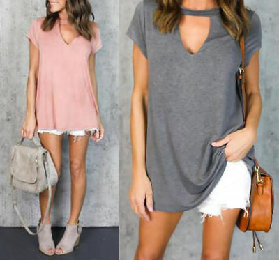 Womens Summer Short Sleeve Shirt Casual Blouse Loose Cotton Tops T Shirt Dress