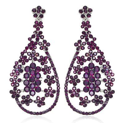 Blooms Violet Austrian Crystal Rhinestone Chandelier Dangle Earring Prom E109v