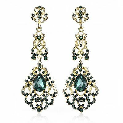 Victorian Green Austrian Crystal Rhinestone Chandelier Dangle Earring Prom E113g
