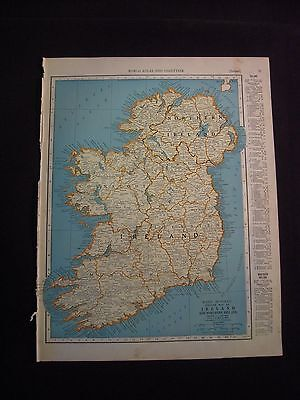 Vintage 1940 Color Map of Ireland from Colliers World Atlas
