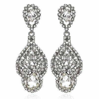 Drop Silver Austrian Crystal Rhinestone Chandelier Dangle Earring Prom E114