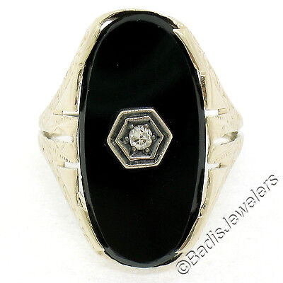 Antique Art Deco Etched 14k White Gold Oval Black Onyx & Diamond Cocktail Ring