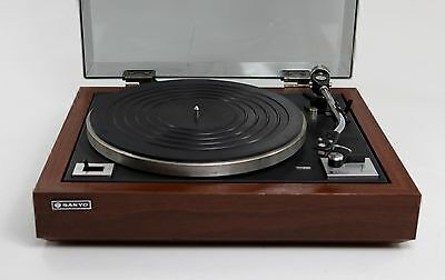 Vintage 1981 Sanyo TP1800 Turntable Record Player Wooden Case, AT MG-35V Stylus