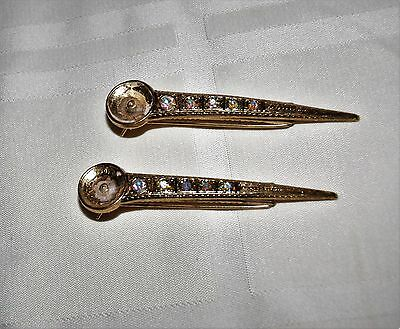 Vintage Kirks Folly Hair Clips Lot of 2 Clips w/ Rhinestones Signed Kirks Folly
