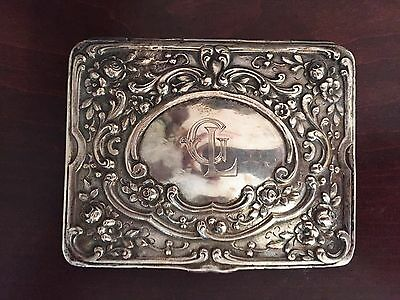 Antique German 800 silver flowered repousse trinket box.  Highly ornate art deco