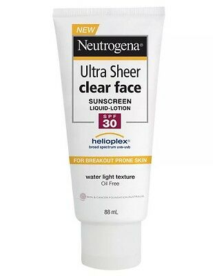 Neutrogena  - 2 X Tubes- Ultra Sheer Clear Face Lotion SPF30+ 88mL
