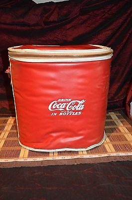 Vintage Coca-Cola SoftSide Vinyl Picnic Cooler Zipper Top w/ Red Strap