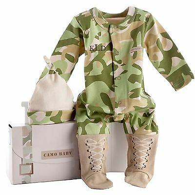 Big Dreamzzz Baby Camo 2-Piece Layette Set in Backpack Gift Box Tan 0-6 Months