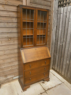 Lovely vintage antique solid oak secretaire bureau bookcase with key