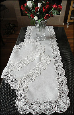 """54""""  Dresser Scarf & Placemats Set Classic Rose Lace Antique White Table Runner"""