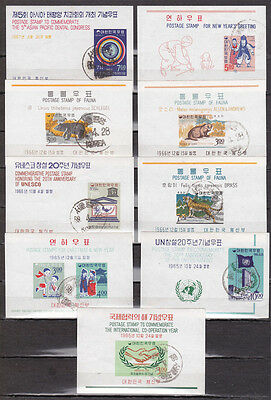 Korea South 9 used MS 1965 & 1966 animals New Year etc