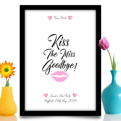 Hen Party Bride to be gift Keepsake Accessories Personalised Kiss Miss A4 Print