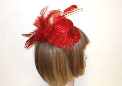 47dd6dfefdad1 Red Loop Sequin Satin Feathers Mini Hat Fascinator Red Hat Ladies Of Society