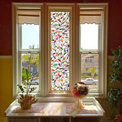 3D Leaf Stained Decorative Glass Frosted PVC Window Film Privacy Block