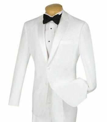 LUCCI Men's White Slim Fit Formal Tuxedo Suit w/ Sateen Lapel & Trim NEW