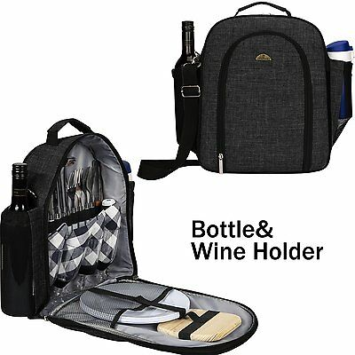 Outdoor picnic tableware Tote Bag Flatware Cutlery and Plates Bottle Holder Bag