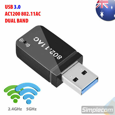 USB 3.0 AC1200 802.11ac WiFi Wireless Adapter Dongle PC Laptop 5GHz Dual Band
