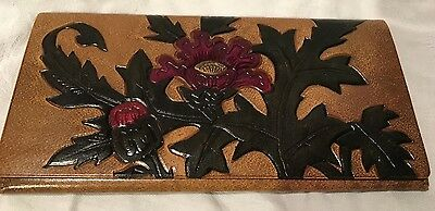 Estate Find! Beautiful Embossed Checkbook Cover With Flowers And Leaves