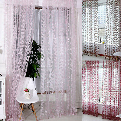 Home Windows Leaves Tulle Voile Drape Decors Panel Sheer Scarf Valance Curtains