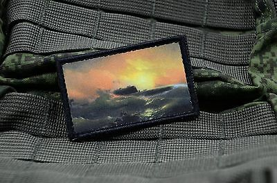 Russian Tactical army morale military patch, Aivazovsky 9th wave and submarine
