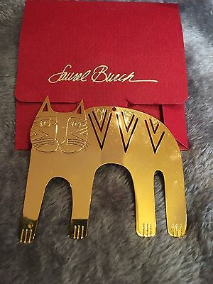 "New in Pkg LAUREL BURCH ""Magicat Christmas 1991"" 3"" Goldtone Metal Ornament"