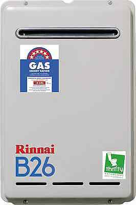 RinnaiB26 Continuous Flow Natural Gas Ext Hot Water Heater Preset to 60ºC