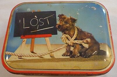Dog Tin Cairn Terrier Candy Biscuit Cracker Box England Edward Sharp Lost