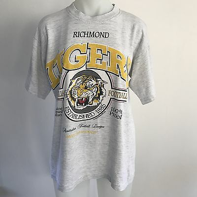 Vintage 90s RICHMOND TIGERS football AFL team supporters T SHIRT