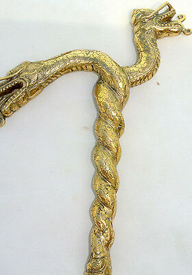 """end ONLY WALKING STICK dragon heads solid BRASS hand made vintage old style 12"""""""