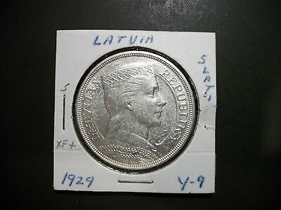 Latvia 1929 5 Lati Silver Large Coin foreign