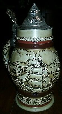 Avon Vintage 1977 Lidded Beer Stein Mug Tall Ships Handcrafted In Brazil
