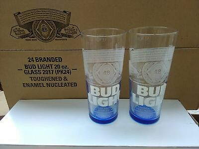 2  x Bud Light Toughened Enamel Nucleated  pint glasses New (man cave or gift)