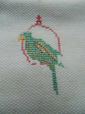 "Vintage UNUSED white Irish linen guest towel. Hand embroidered ""Budgie"""