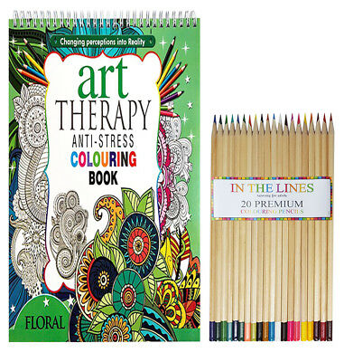 100 Page Adult Anti Stress Colour Therapy Colouring Book + 12 Colouring Pencils