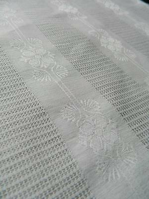 """UNUSED vintage white French damask fabric - Floral design 45"""" x 42"""" (84"""" avail)"""