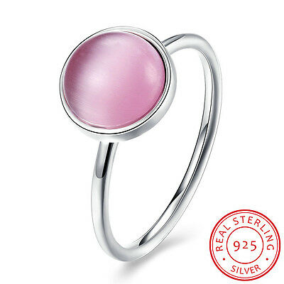 New Genuine 925 Sterling Silver Solid Pink Opal Wedding Engagement Band Ring