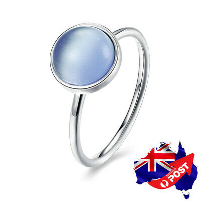 New Genuine 925 Sterling Silver Solid Blue Crystal Wedding Engagement Band Ring